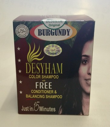Desyham Hair color shampoo box burgundy
