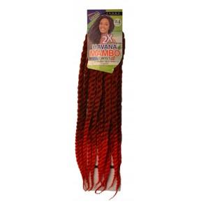 2X HAVANA MAMBO TWIST BRAID 24 Inch #1b red Black red